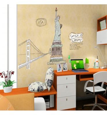 fabricado en vinilo precortado reutilizable con la temática estatua libertad y puente