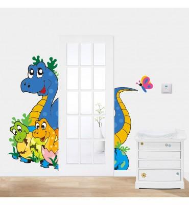 fabricado en vinilo precortado reutilizable con la temática dinosaurio infantil para puerta