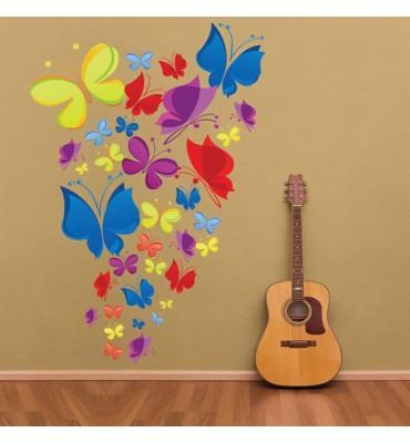 fabricado en vinilo precortado reutilizable con la temática mariposas de colores