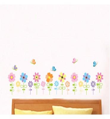 fabricado en vinilo precortado reutilizable con la temática flores con mariposas mod3