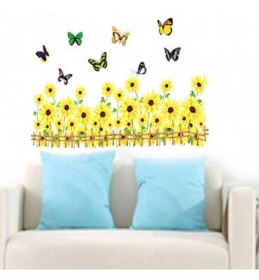 fabricado en vinilo precortado reutilizable con la temática girasoles y mariposas