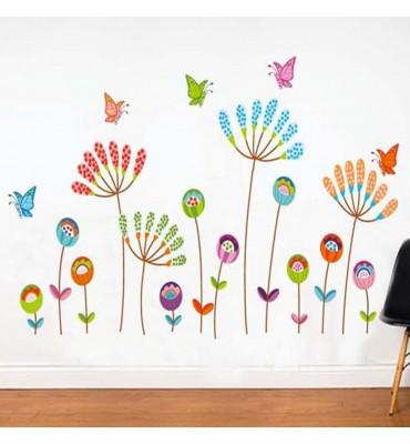 fabricado en vinilo precortado reutilizable con la temática mariposas y hojas flores