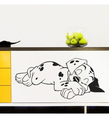 fabricado en vinilo precortado reutilizable con la temática perro dálmata durmiendo