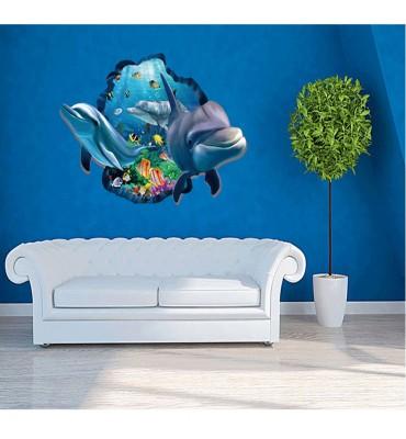 fabricado en vinilo precortado reutilizable con la temática delfines 3D