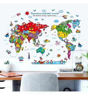 fabricado en vinilo precortado reutilizable con la temática mapa típicas países