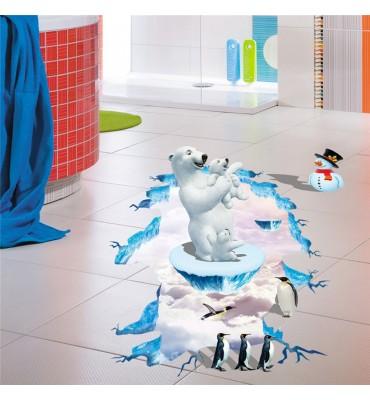 fabricado en vinilo precortado reutilizable con la temática oso polar 3D