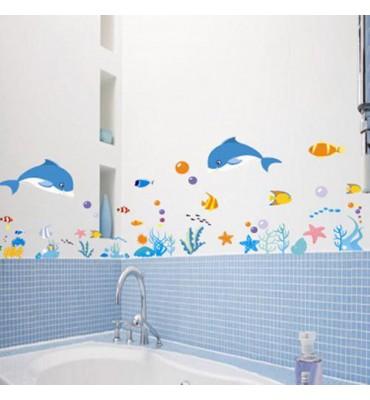 fabricado en vinilo precortado reutilizable con la temática acuario para suelo baño 3D
