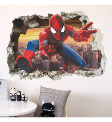 fabricado en vinilo precortado reutilizable con la temática spiderman habitación 3D