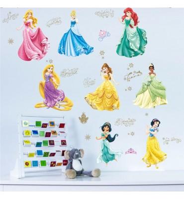 fabricado en vinilo precortado reutilizable con la temática princesas de cuento disney