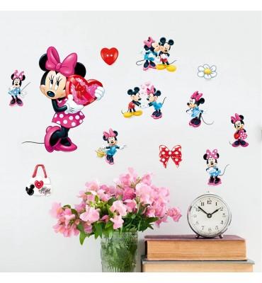 fabricado en vinilo precortado reutilizable con la temática Minnie con corazón