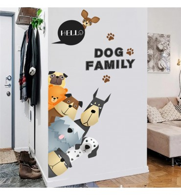 fabricado en vinilo precortado reutilizable con la temática dog family inclinados