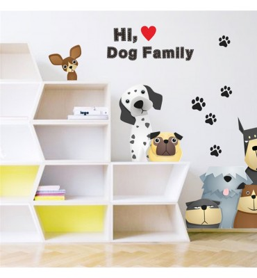 fabricado en vinilo precortado reutilizable con la temática dog family frontal