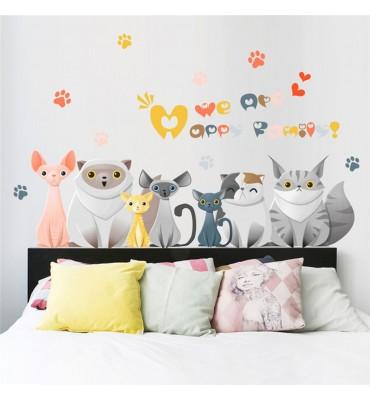 fabricado en vinilo precortado reutilizable con la temática cat family alineados