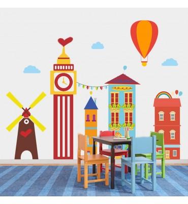Vinilo infantil decorativo fabricado en vinilo precortado reutilizable con la temática edificios y molinos