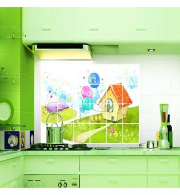 fabricado en vinilo precortado reutilizable con la temática imitación baldosa casita cocina