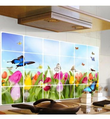 fabricado en vinilo precortado reutilizable con la temática imitación baldosa flores cocina