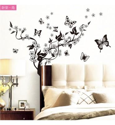 fabricado en vinilo precortado reutilizable con la temática ramas de almendro flores blancas