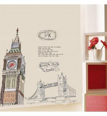 fabricado en vinilo precortado reutilizable con la temática Big Beny el puente de Londres