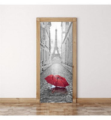 fabricado en vinilo precortado reutilizable con la temática París para puertas