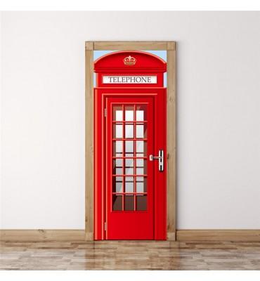 fabricado en vinilo precortado reutilizable con la temática Londres para puertas