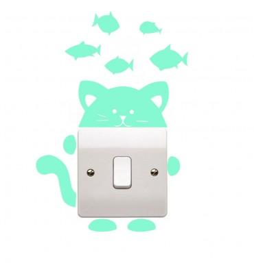fabricado en vinilo precortado reutilizable con la temática gato fluorescente  interruptores