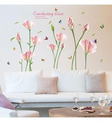 fabricado en vinilo precortado reutilizable con la temática rosas y amapolas