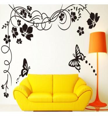 Vinilo decorativo fabricado en vinilo precortado reutilizable con la temática flor esquina mariposa