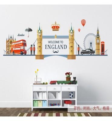 fabricado en vinilo precortado reutilizable con la temática Londres welcome England