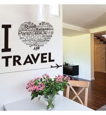 Vinilo decorativo  fabricado en vinilo precortado reutilizable con la temática I love travel