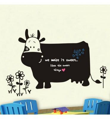 fabricado en vinilo precortado reutilizable con la temática Pizarra original forma vaca