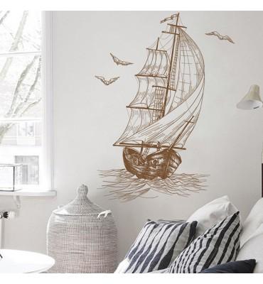 fabricado en vinilo precortado reutilizable con la temática barco con velas en el mar