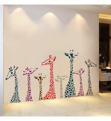 fabricado en vinilo precortado reutilizable con la temática jirafas originales de colores