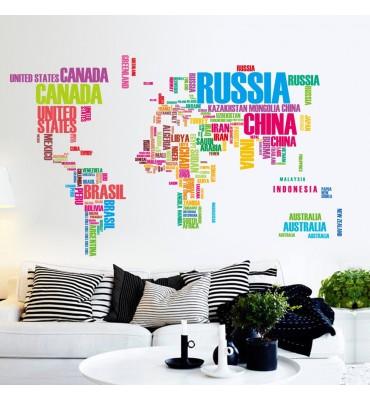 fabricado en vinilo precortado reutilizable con la temática mapa de colores  nombres ciudadad