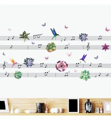 fabricado en vinilo precortado reutilizable con la temática notas musicales  colibrí y flores