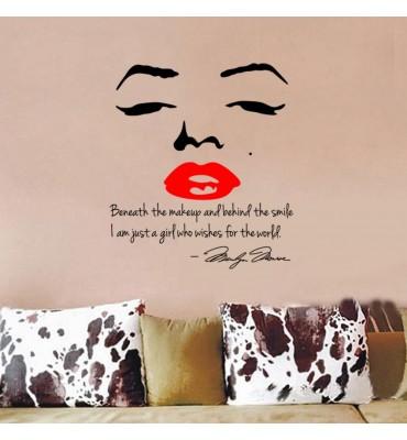 fabricado en vinilo precortado reutilizable con la temática beso de Marilyn Monroe