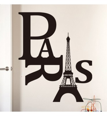 fabricado en vinilo precortado reutilizable con la temática Paris texto torre Eiffel