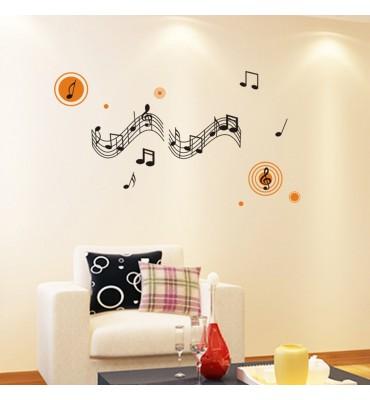 fabricado en vinilo precortado reutilizable con la temática notas musicales  mod2