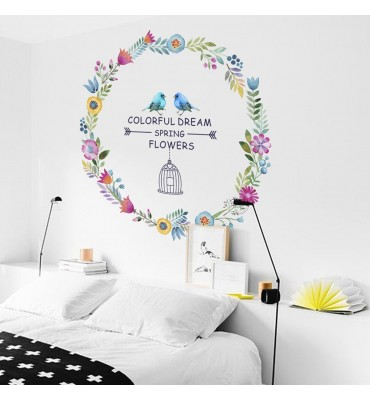 Vinilo decorativo fabricado en vinilo precortado reutilizable con la temática circulo flores dream colorful