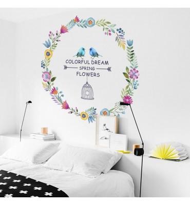Vinilo decorativo fabricado en vinilo precortado reutilizable con la temática circulo flores dream colorful