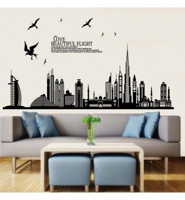 Vinilo decorativo fabricado en vinilo precortado reutilizable con la temática la ciudad de Dubai