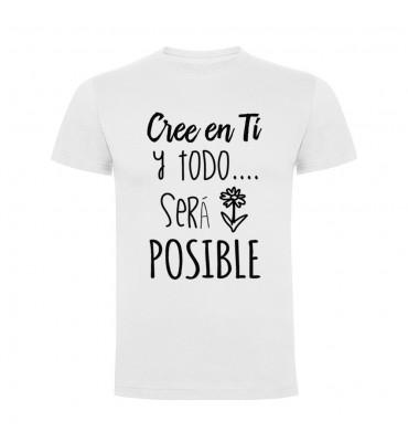 Camisetas con frases motivadoras fabricadas en 100% algodón de serie limitada con la frase Cree en ti y todo será posible