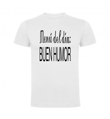 Camisetas con frases motivadoras fabricadas en 100% algodón de serie limitada con la frase Menú del día buen humor