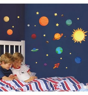fabricado en vinilo precortado reutilizable con la temática planetas en constelacion solar