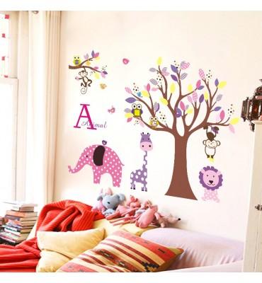 fabricado en vinilo precortado reutilizable con la temática elefante rosa y jirafa morada animada