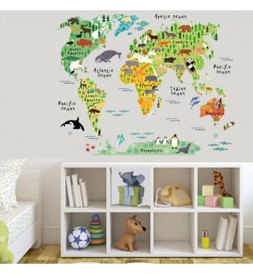 fabricado en vinilo precortado reutilizable con la temática mapa del mundo con animales