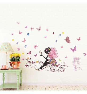 fabricado en vinilo precortado reutilizable con la temática hada sentada con mariposas