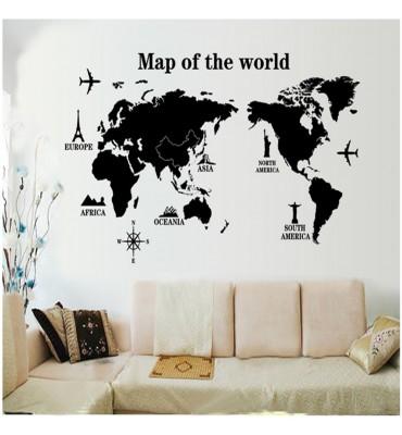 fabricado en vinilo precortado reutilizable con la temática mapa del mundo de viajes