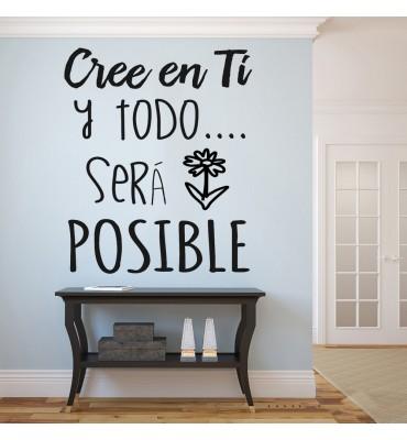 Vinilo Decorativo Cree En Ti Y Todo Será Posible